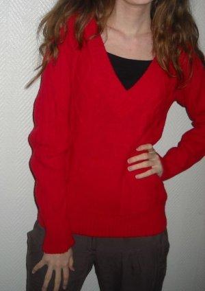 Only Pullover Pulli Vintage rot rost V-Ausschnitt 34 36 38 40 S H M L Zopfmuster