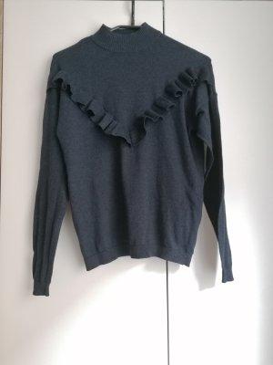 Only Pullover Rüschen blau XS 34 Feinstrick Stehkragen