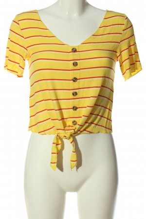 Only Camisa acanalada amarillo pálido-rojo estampado a rayas look casual