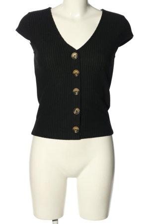 Only Prążkowana koszulka czarny W stylu casual