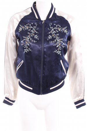 Only Ripstop Jacket dark blue-light pink flower pattern