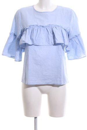 Only Rüschen-Bluse blau Business-Look