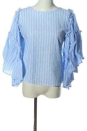 Only Rüschen-Bluse blau-weiß Streifenmuster Casual-Look