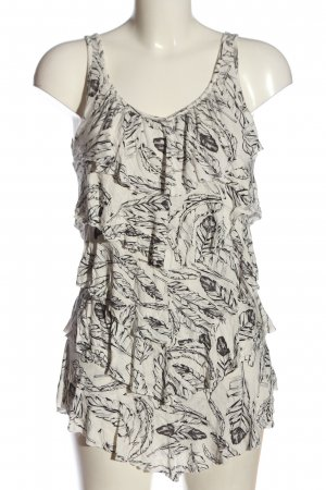 Only Frill Top natural white-black allover print casual look
