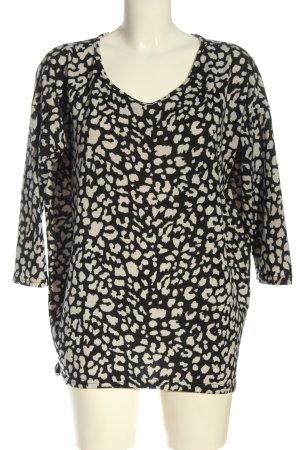 Only Jersey de cuello redondo negro-blanco estampado con diseño abstracto
