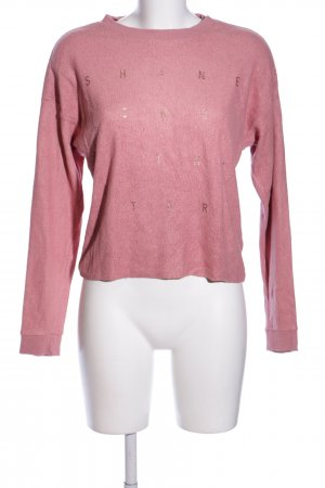 Only Rundhalspullover pink Schriftzug gedruckt Casual-Look