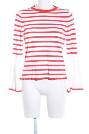 Only Rundhalspullover weiß-rot Streifenmuster Casual-Look