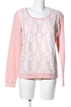 Only Rundhalspullover pink-weiß Blumenmuster Casual-Look
