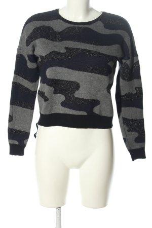 Only Rundhalspullover schwarz-hellgrau Camouflagemuster Casual-Look