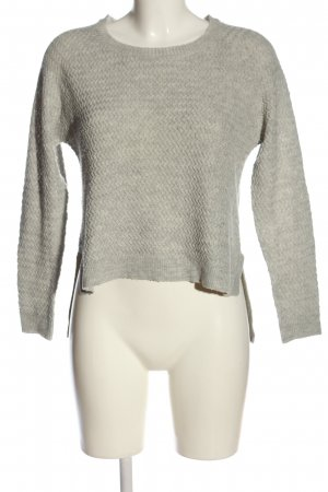 Only Rundhalspullover hellgrau Zopfmuster Casual-Look
