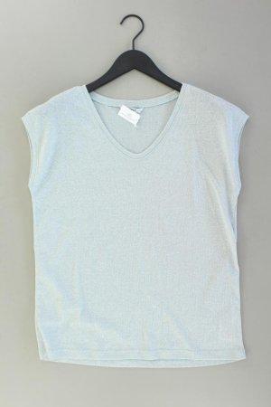 Only Shirt mit V-Ausschnitt Größe L Kurzarm mit Glitzer blau aus Viskose