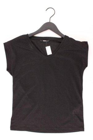 Only Shirt mit V-Ausschnitt Größe S Kurzarm mit Glitzer schwarz aus Polyester