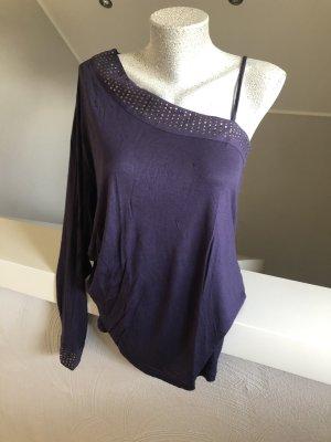 Only Camisa de un solo hombro violeta oscuro-lila