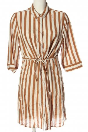 Only Shirt Dress brown-natural white striped pattern casual look
