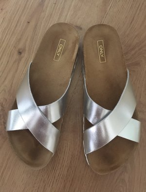 Only Shoes Onlmadison Cross Silber Pantolette Schlappen Sandalen Sandalette 40 Kork Leder Glitzer metallic