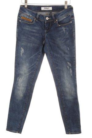 Only Skinny Jeans dunkelblau Logo-Applikation aus Leder