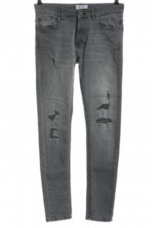 only & sons Hoge taille jeans lichtgrijs casual uitstraling