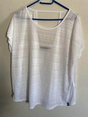 Only Sports T-Shirt weiß transparent Streifen 42 XL Neu