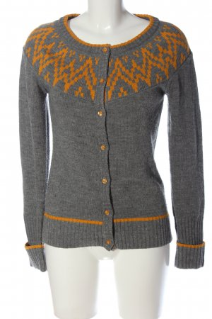 Only Strick Cardigan hellgrau-hellorange grafisches Muster Casual-Look