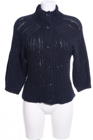 Only Strick Cardigan blau Zopfmuster Casual-Look
