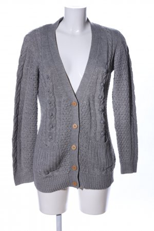 Only Strickjacke hellgrau Zopfmuster Casual-Look