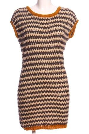 Only Vestido tejido marrón-crema estampado a rayas look casual
