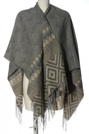 Only Knitted Poncho light grey graphic pattern casual look