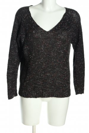 Only Strickpullover schwarz Webmuster Casual-Look
