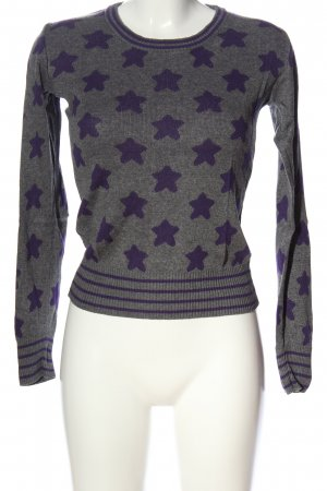 Only Strickpullover hellgrau-lila Allover-Druck Casual-Look