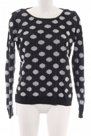 Only Strickpullover schwarz-weiß Punktemuster Casual-Look