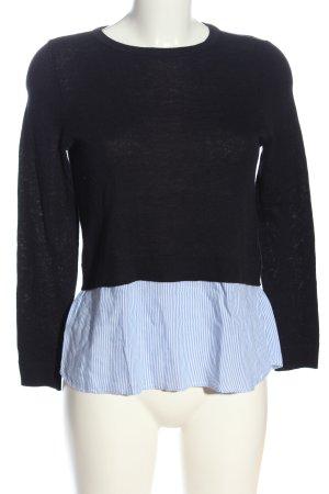 Only Strickpullover schwarz-blau Streifenmuster Casual-Look
