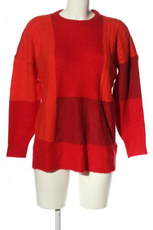 Only Strickpullover rot-hellorange Zopfmuster Casual-Look