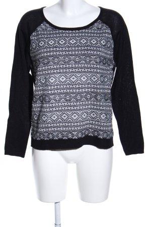 Only Strickpullover schwarz-weiß grafisches Muster Casual-Look