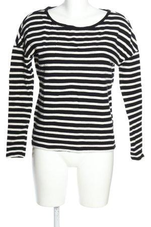 Only Sweatshirt schwarz-weiß Streifenmuster Casual-Look