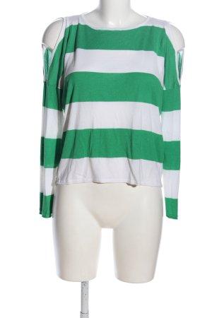 Only Strickshirt grün-weiß Streifenmuster Casual-Look