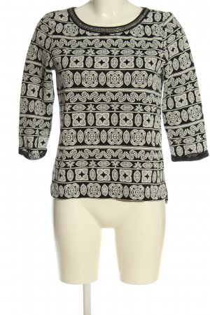 Only Feinstrickpullover schwarz-weiß abstraktes Muster Casual-Look