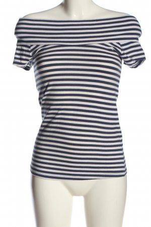 Only T-shirts en mailles tricotées blanc cassé-bleu motif rayé