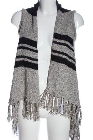 Only Gilet tricoté gris clair-noir motif rayé style décontracté