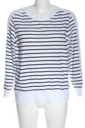 Only Sweatshirt weiß-schwarz Streifenmuster Casual-Look