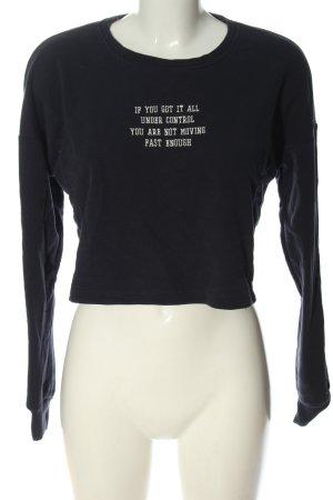 Only Sweatshirt schwarz Schriftzug gestickt Casual-Look
