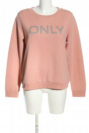 Only Sweatshirt nude-hellgrau Schriftzug gedruckt Casual-Look