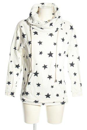Only Sweatshirt weiß-schwarz Allover-Druck Casual-Look