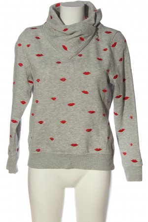 Only Sweatshirt hellgrau-rot abstraktes Muster Casual-Look