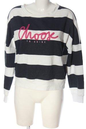 Only Sweatshirt schwarz-weiß Schriftzug gedruckt Casual-Look
