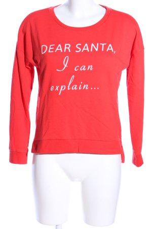 Only Sweatshirt rot-weiß Schriftzug gedruckt Casual-Look