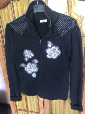 Only Sweatshirt Schwarz mit Pailletten und Reisverschluss