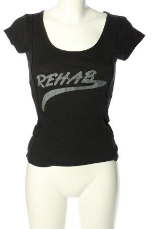 Only T-Shirt schwarz-hellgrau Schriftzug gedruckt Casual-Look