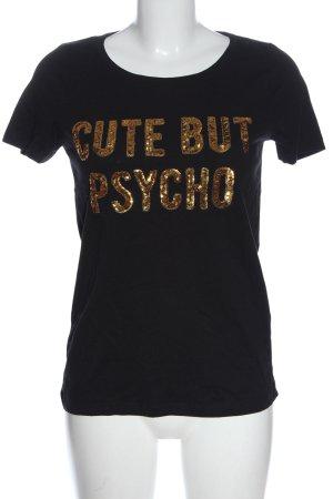 Only T-Shirt schwarz-goldfarben Schriftzug gedruckt Casual-Look