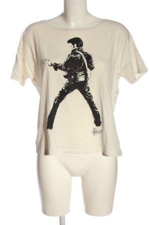 Only Camiseta crema-negro estampado temático look casual