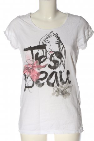 Only T-Shirt weiß-schwarz Motivdruck Casual-Look